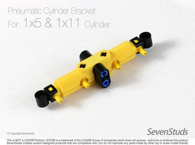 Pneumatic Cylinder Bracket 1/2 (Small) in Yellow Processed Versatile Plastic