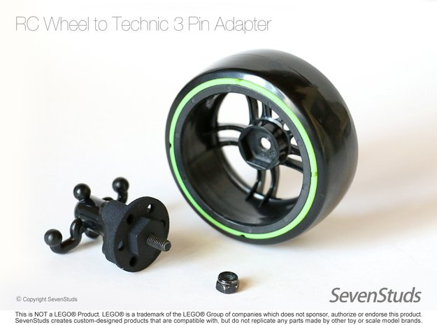 RC Wheel to Technic 3 Pin Adapters x4 Heavy Duty in Black Natural Versatile Plastic