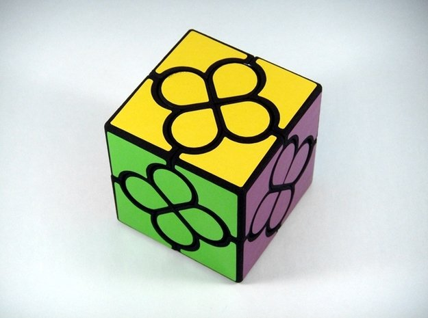 Lucky Clover Cube Puzzle in White Natural Versatile Plastic