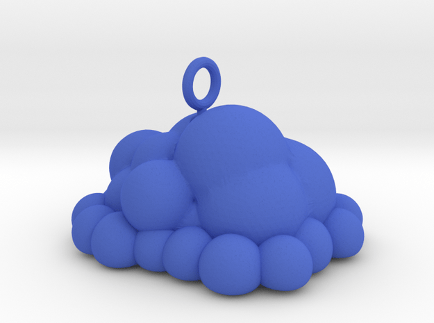 Puffy Cloud Dangler - 4cm in Blue Processed Versatile Plastic