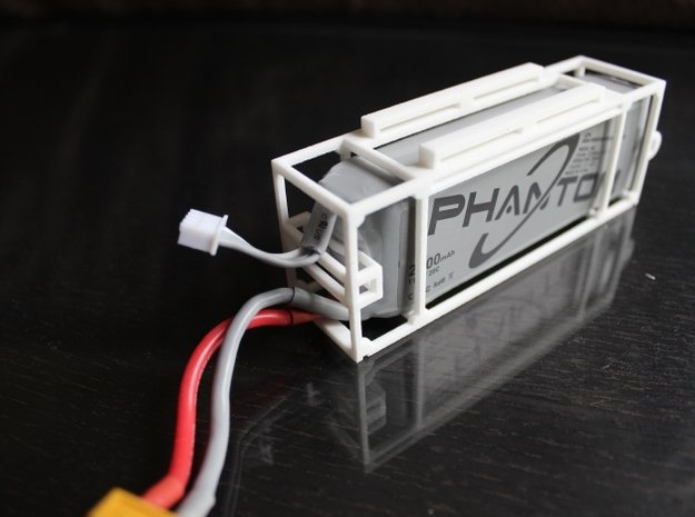 DJI Phantom - 3s Lipo Battery Cage - d3wey in White Natural Versatile Plastic