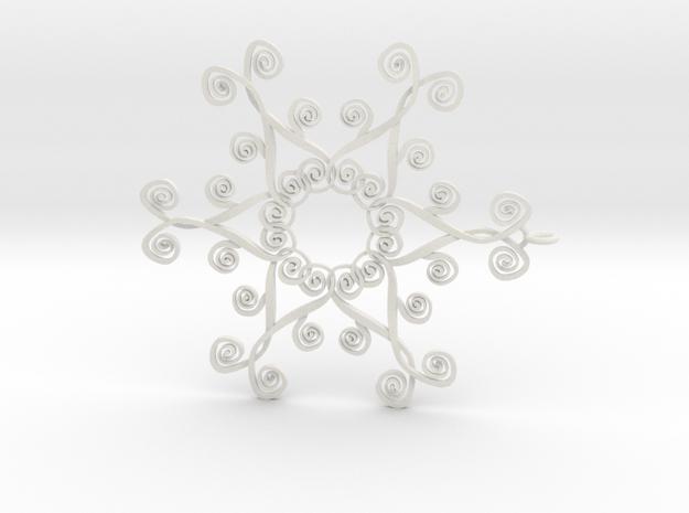 Suessish Snow Flake - 7cm in White Natural Versatile Plastic