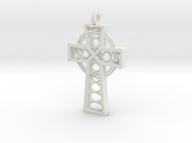 "Celtic Cross 2.25"" in White Natural Versatile Plastic"