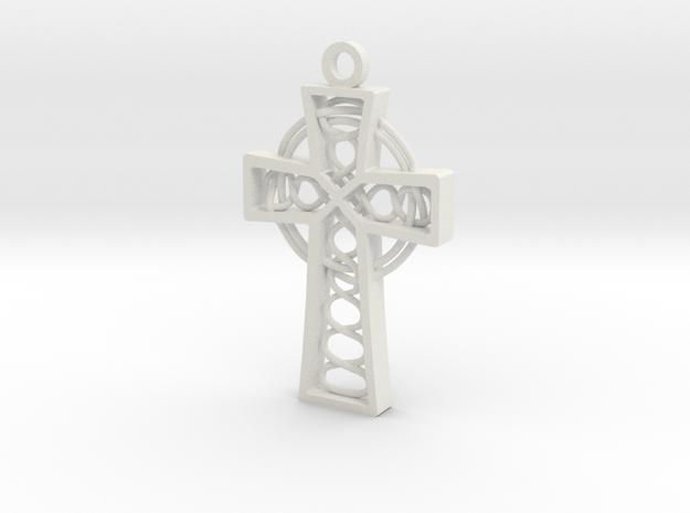 "Celtic Cross 1.5"" in White Natural Versatile Plastic"