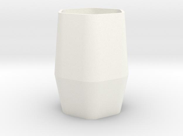 Hexagonal Cup in White Processed Versatile Plastic