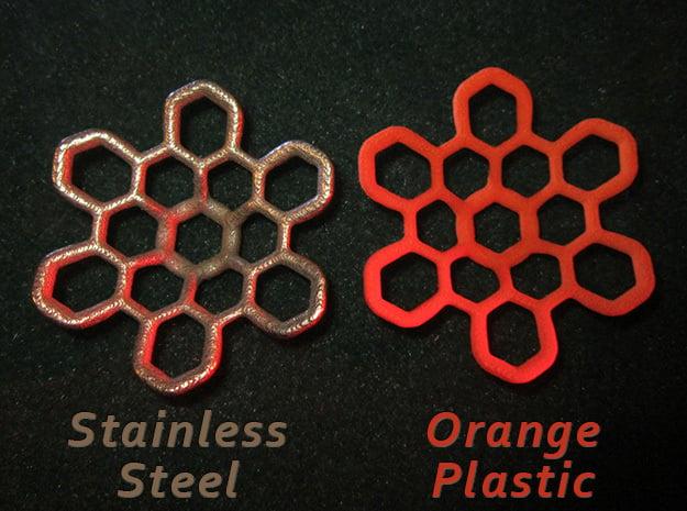 Hex Petal - 4cm in Orange Processed Versatile Plastic