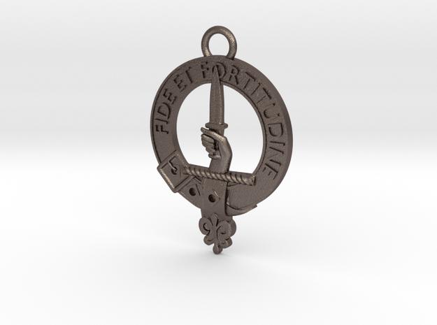 Shaw Clan Crest key fob in Polished Bronzed Silver Steel