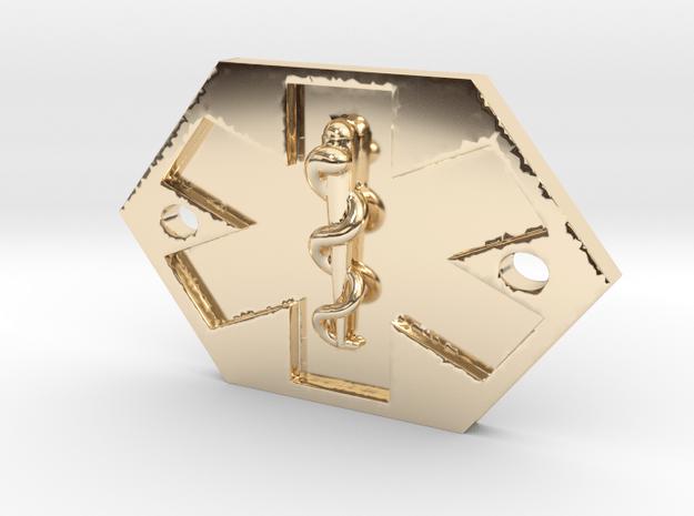 Med Alert Bracelet Charm in 14k Gold Plated Brass