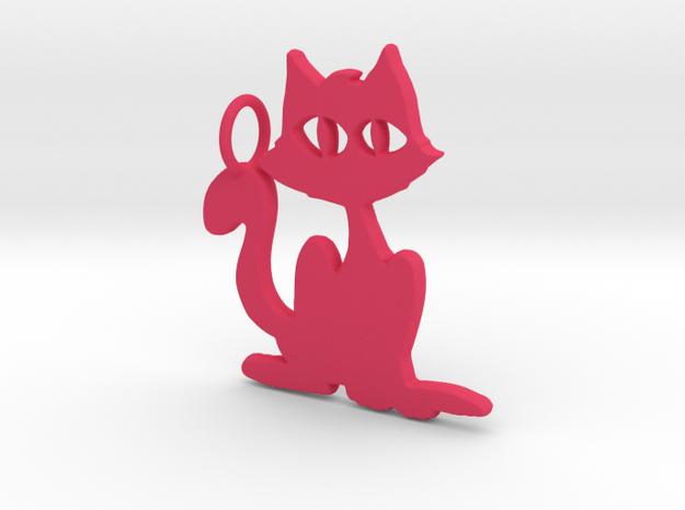 Kitty Pendant in Pink Processed Versatile Plastic