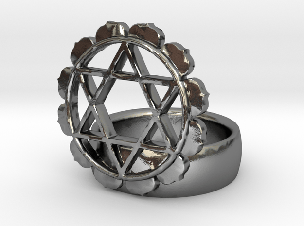 4th Chakra Ring in Polished Silver
