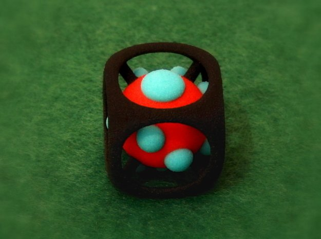 Dice No.1-c Red S (balanced) (2.4cm/0.94in) in Full Color Sandstone
