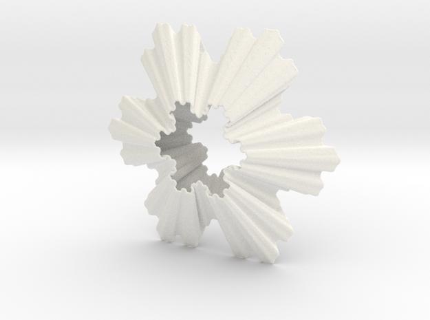 Koch Snowflake Ornament in White Processed Versatile Plastic