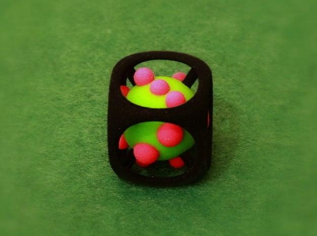 Dice No.1-c Green S (balanced) (2.4cm/0.94in) in Full Color Sandstone