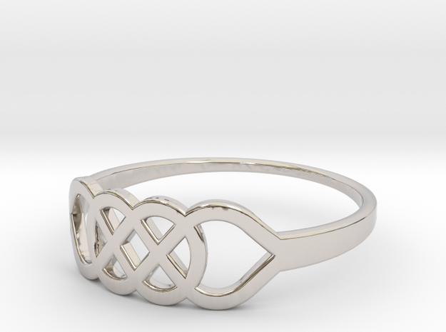 Size 6 Knot C1 in Rhodium Plated Brass