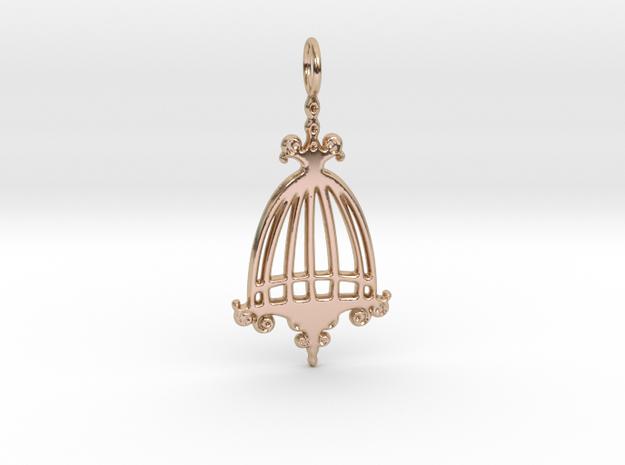 Elegant Birdcage Pendant in 14k Rose Gold Plated Brass