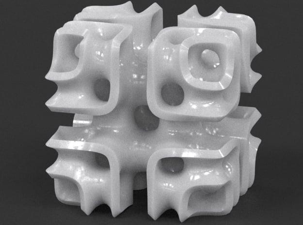 Cubic Lattice in White Processed Versatile Plastic