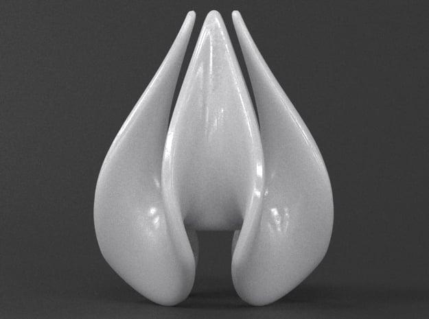 Teardrop Quatrefoil in White Processed Versatile Plastic