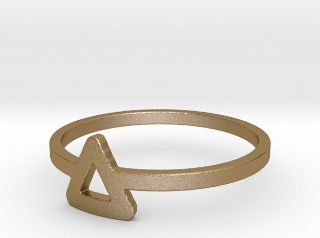 Triangle Ring Ring in Polished Gold Steel