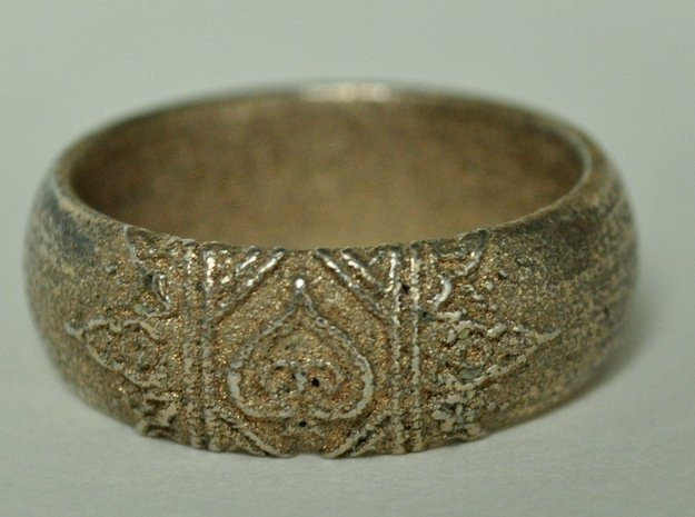 Ace Ring_Henna_Spade_CARVED_Size11 in Polished Bronzed Silver Steel