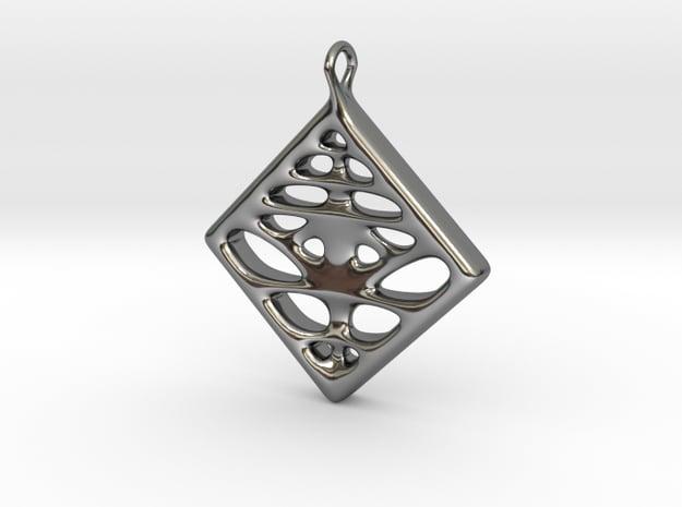 Voronoi Pendant in Fine Detail Polished Silver