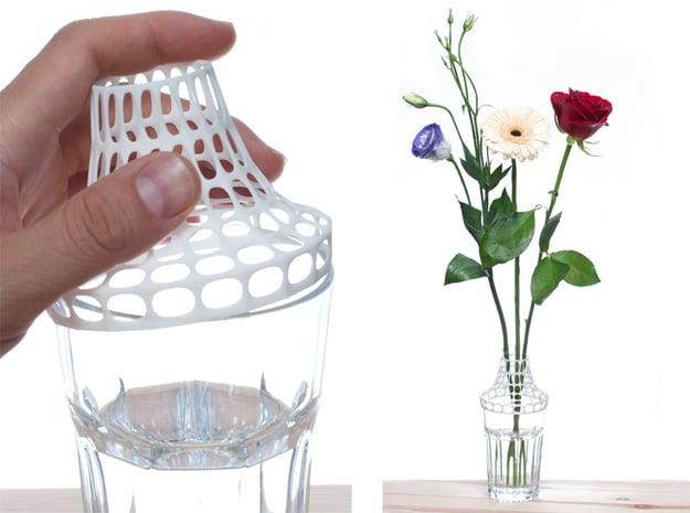 Clip on vase in White Natural Versatile Plastic