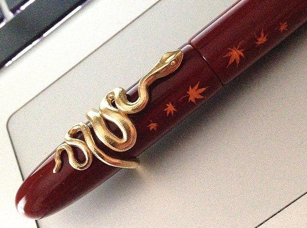 Snake Roll-stopper for Fountain Pen 16mm in Natural Brass