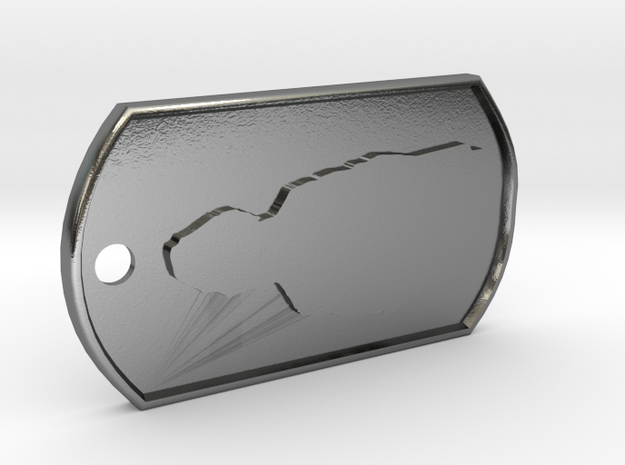 James May Silhouette  Dog Tag in Polished Silver