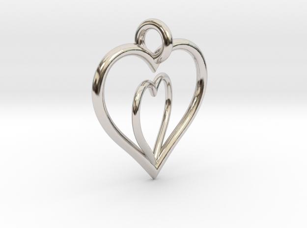 Love Hearts in Rhodium Plated Brass