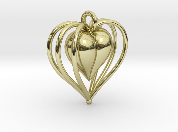 Hearts Cage in 18k Gold Plated Brass