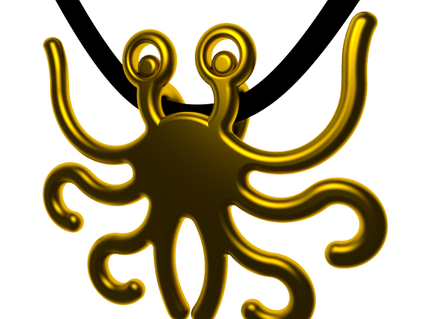 Flying Spaghetti Monster in Polished Gold Steel