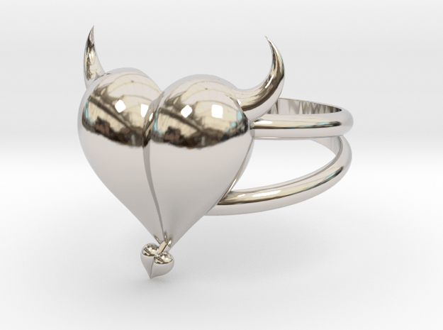 Size 7 Evil Heart Ring in Rhodium Plated Brass