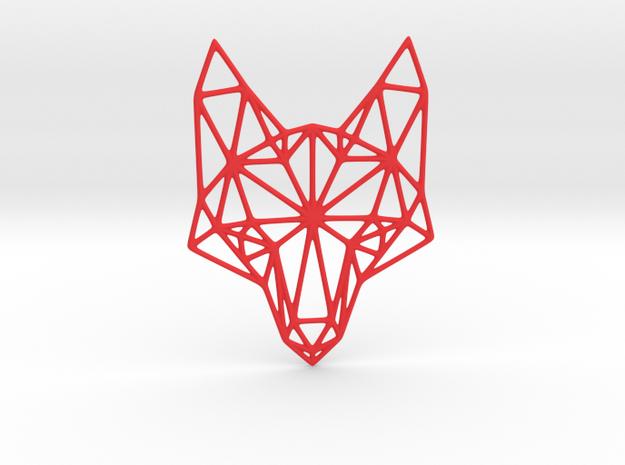 Geometric Fox Head  in Red Processed Versatile Plastic