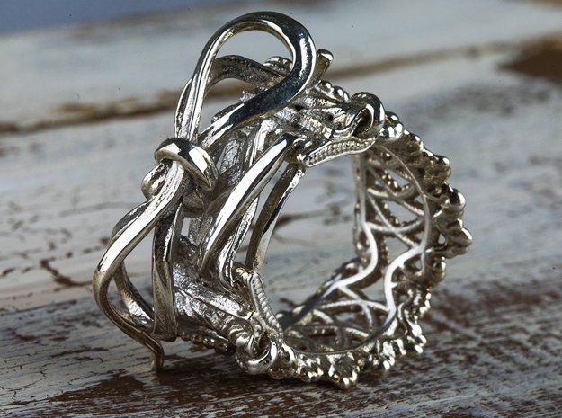 Corset ring  in Polished Silver