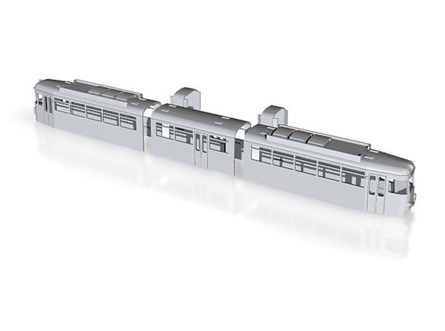 OEG GT8 Rastatt 81mit Bustüren kompl. Gehäusesatz in White Natural Versatile Plastic