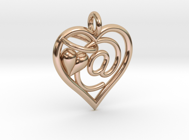 HEART @ in 14k Rose Gold Plated Brass