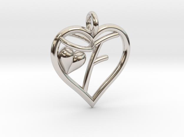 HEART F in Rhodium Plated Brass