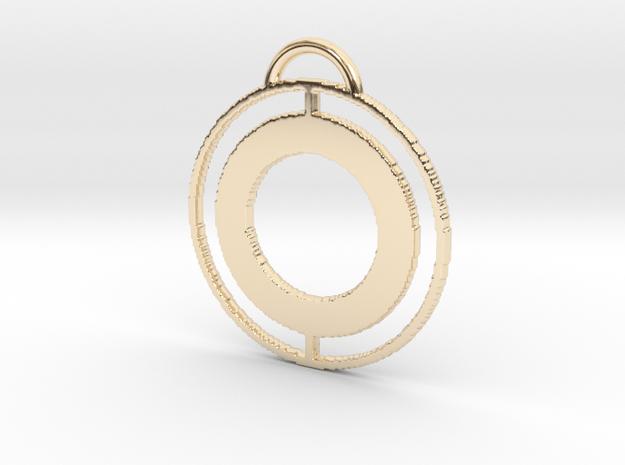 Circular Keychain in 14k Gold Plated Brass