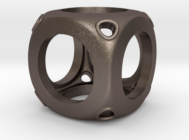 Cube in Polished Bronzed Silver Steel
