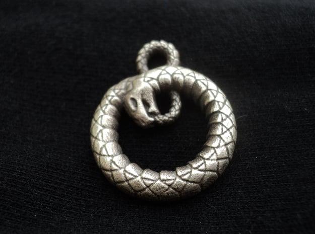 Ouroboros Pendant in Natural Silver