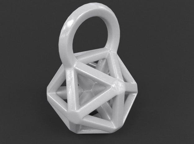 Icosahedron Frame Pendant in White Processed Versatile Plastic