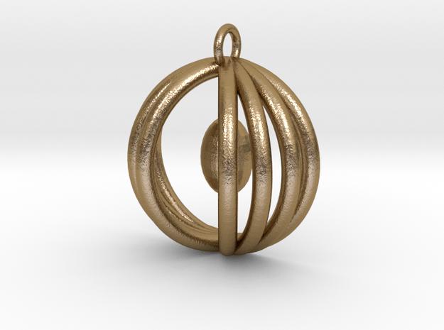 Half sphere pendant in Polished Gold Steel