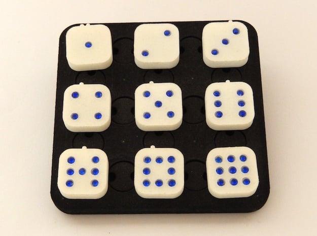 Dancing Dice & Dominoes Puzzle in White Natural Versatile Plastic