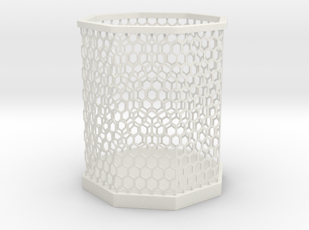 Hexa Pen stand in White Natural Versatile Plastic