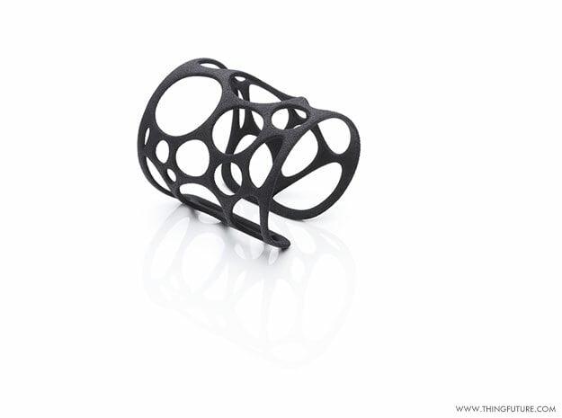Voronoi bracelet (MEDIUM) in Black Natural Versatile Plastic