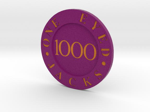 One Eyed Jacks Poker Chip in Full Color Sandstone