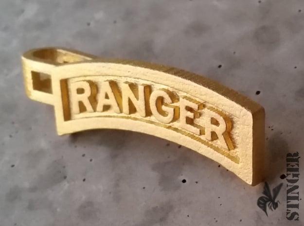Ranger Tab Tie Bar in Polished Gold Steel