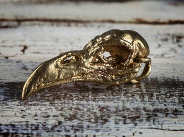 Raven skull Pendant in Natural Brass