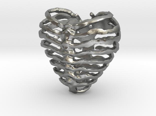 Broken Heart in Natural Silver