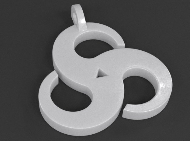 Triskelion Pendant 01 in White Processed Versatile Plastic