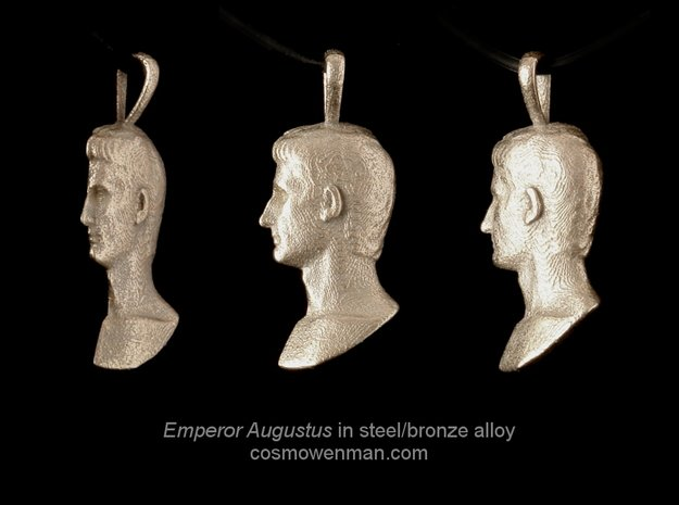 Steel Augustus Prima Porta pendant in Polished Bronzed Silver Steel